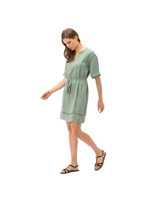 Nautica Belden Bağlamalı Elbise Yeşil